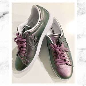 Converse Pro Iridescent Purple Leather Sneakers